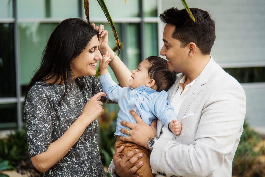 Family of three enjoying at Newport Beach