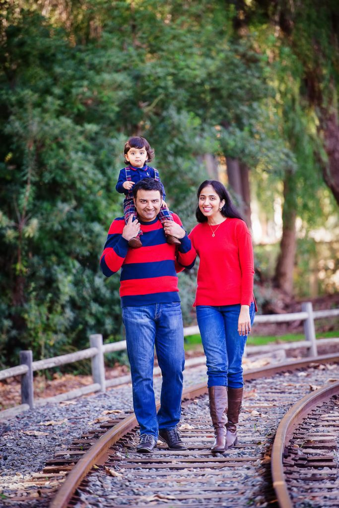 Family at train tracks Old Poway Park