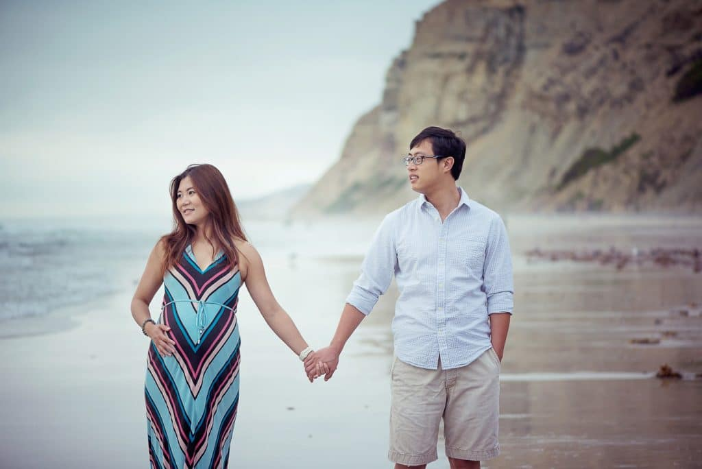 Couple Holding hands at black beach San Diego