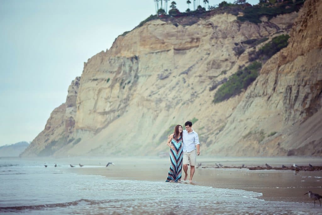 Couple walking at Black Beach San Diego CA