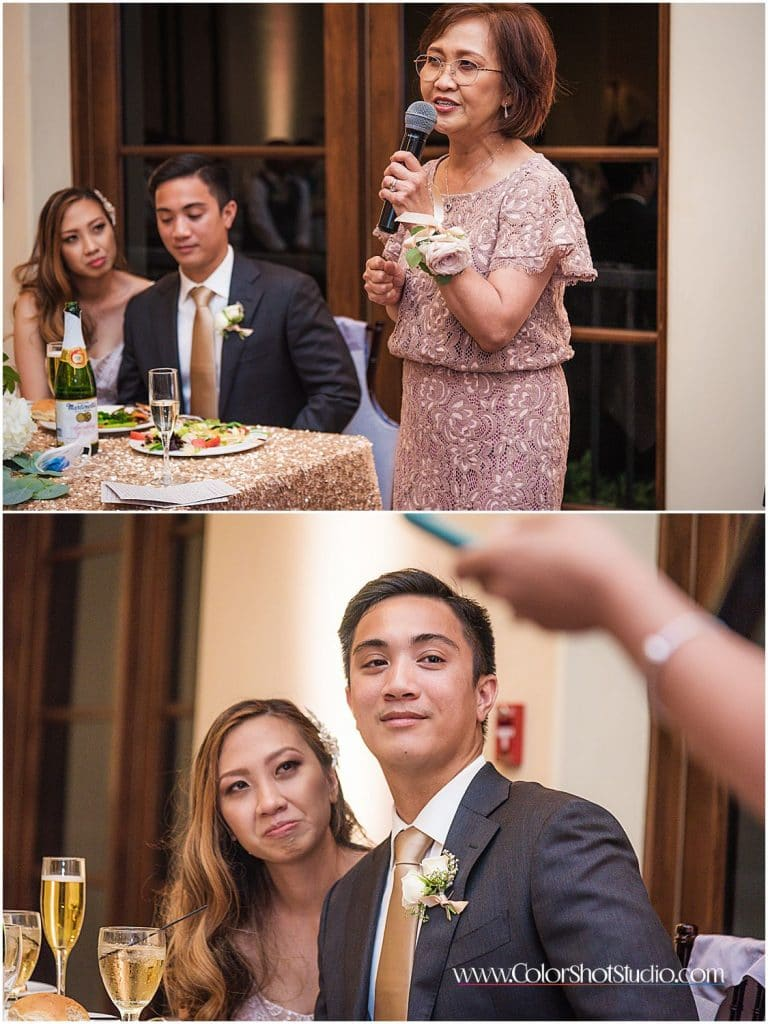 Brides mom raising a toast