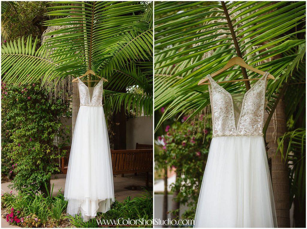 Beautiful Bridal dress and details Omni la costa resort wedding photography by color shot studio