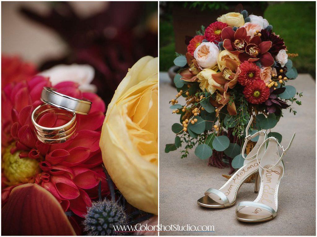 Wedding bouquet , rings and bride shoes Omni la costa resort wedding photography by color shot studio