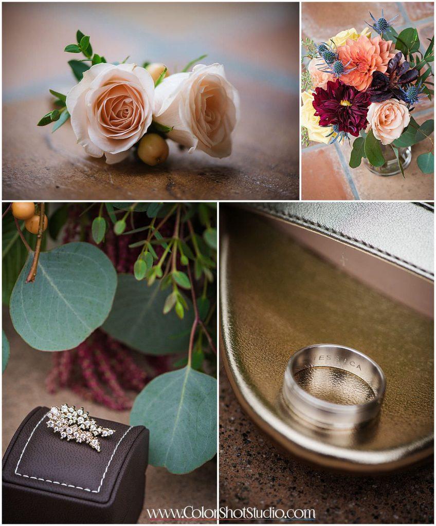 Wedding details and bridal jewelry Omni la costa resort wedding photography by color shot studio
