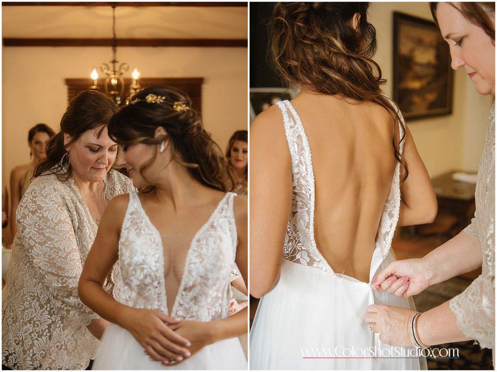Bride's mother zipping up her dress Omni la costa resort wedding photography by color shot studio