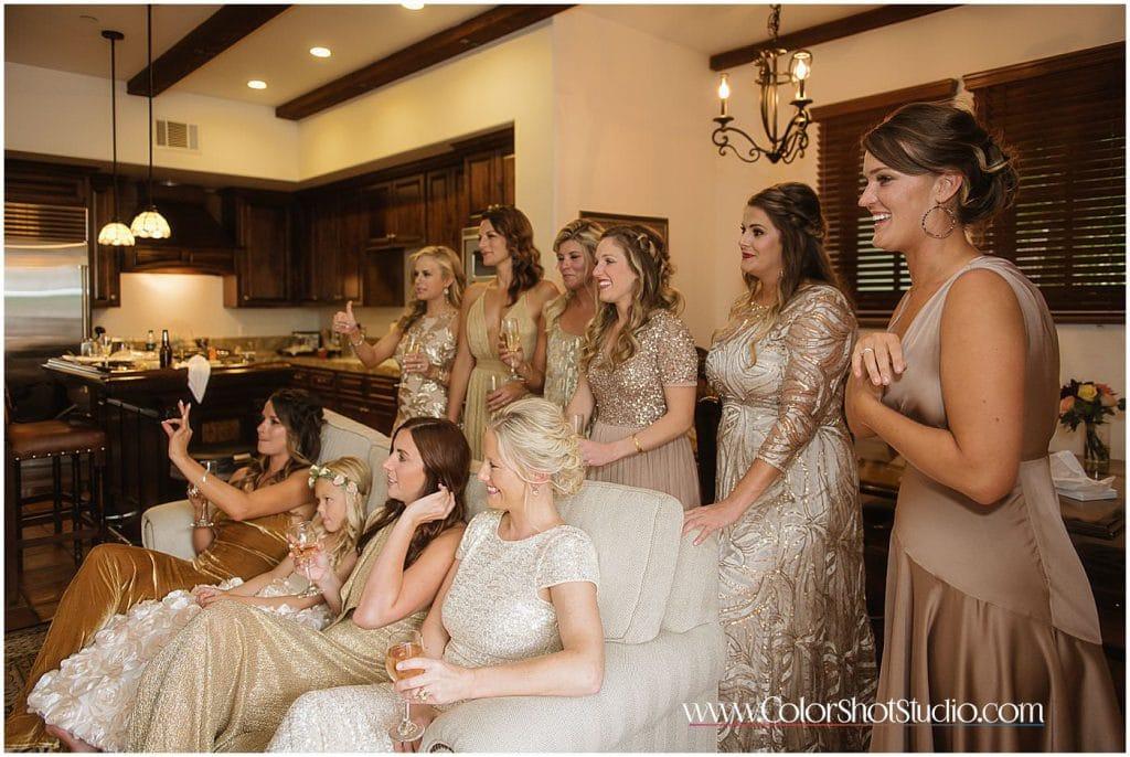 Bride's maids reactions Omni la costa resort wedding photography by color shot studio