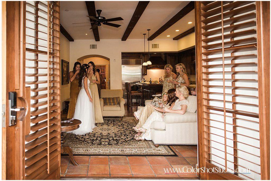 Bride and brides maids before wedding Omni la costa resort wedding photography by color shot studio