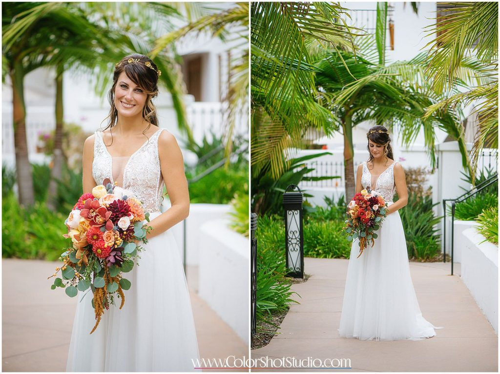 Beautiful bride with her bouquet Omni la costa resort wedding photography by color shot studio