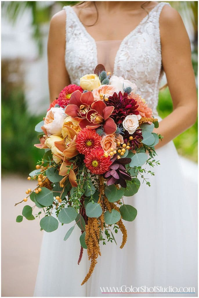 Beautiful bouquet with fall colors Omni la costa resort wedding photography by color shot studio