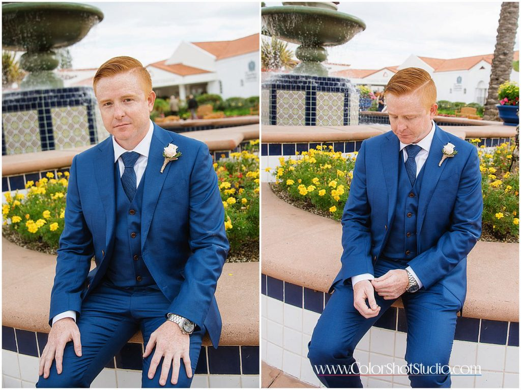 Groom getting ready Omni la costa resort wedding photography by color shot studio