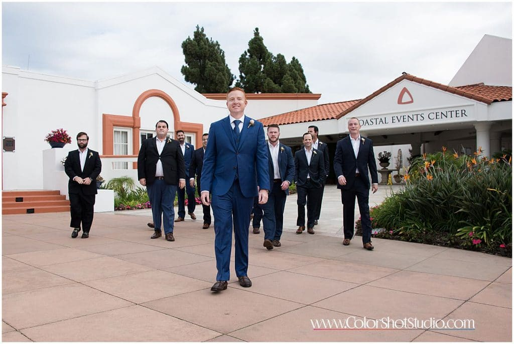 Groom and groomsmen walking together