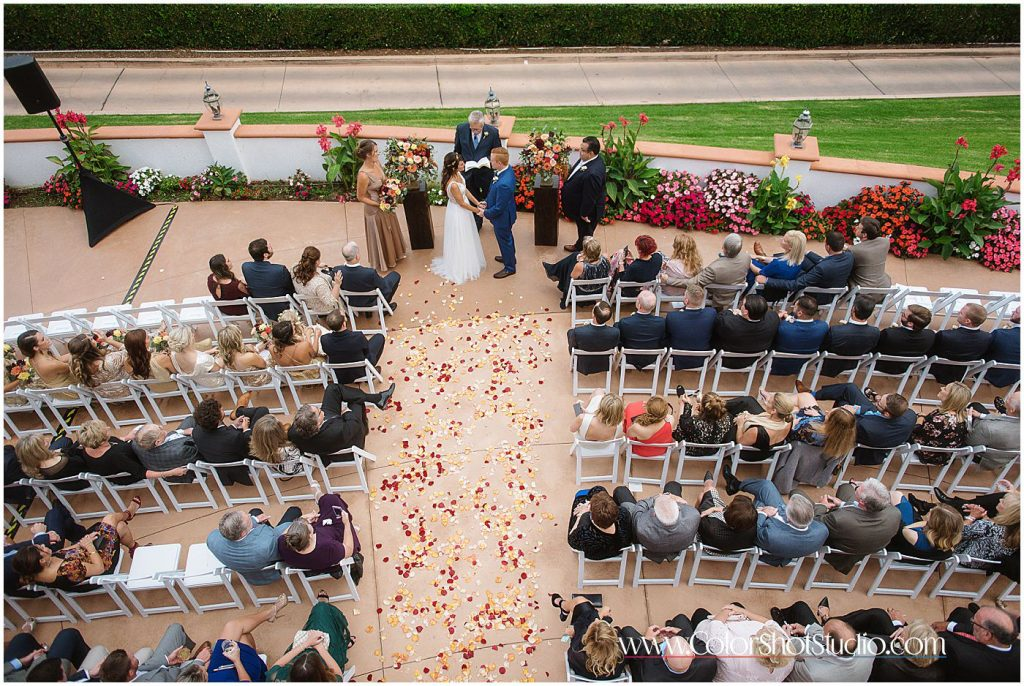 Wedding ceremony at Omni la costa resort wedding photography by color shot studio