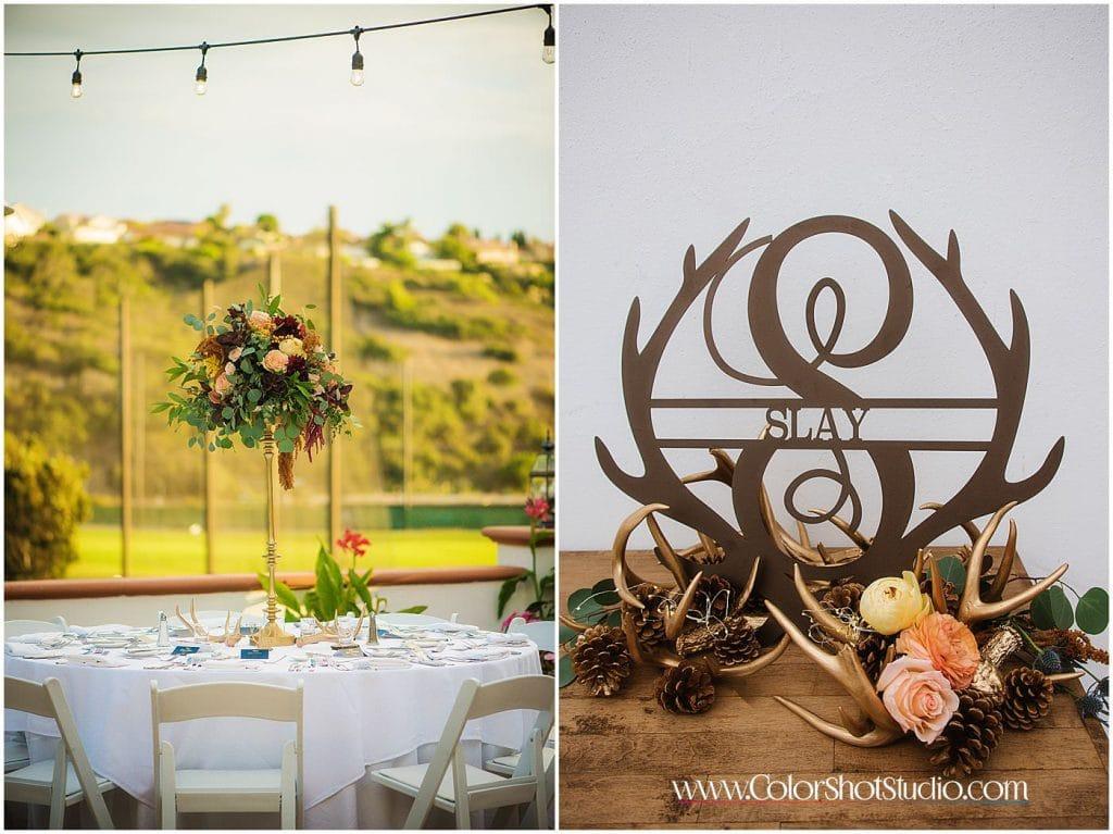Wedding reception dinner table details Omni la costa resort wedding photography by color shot studio