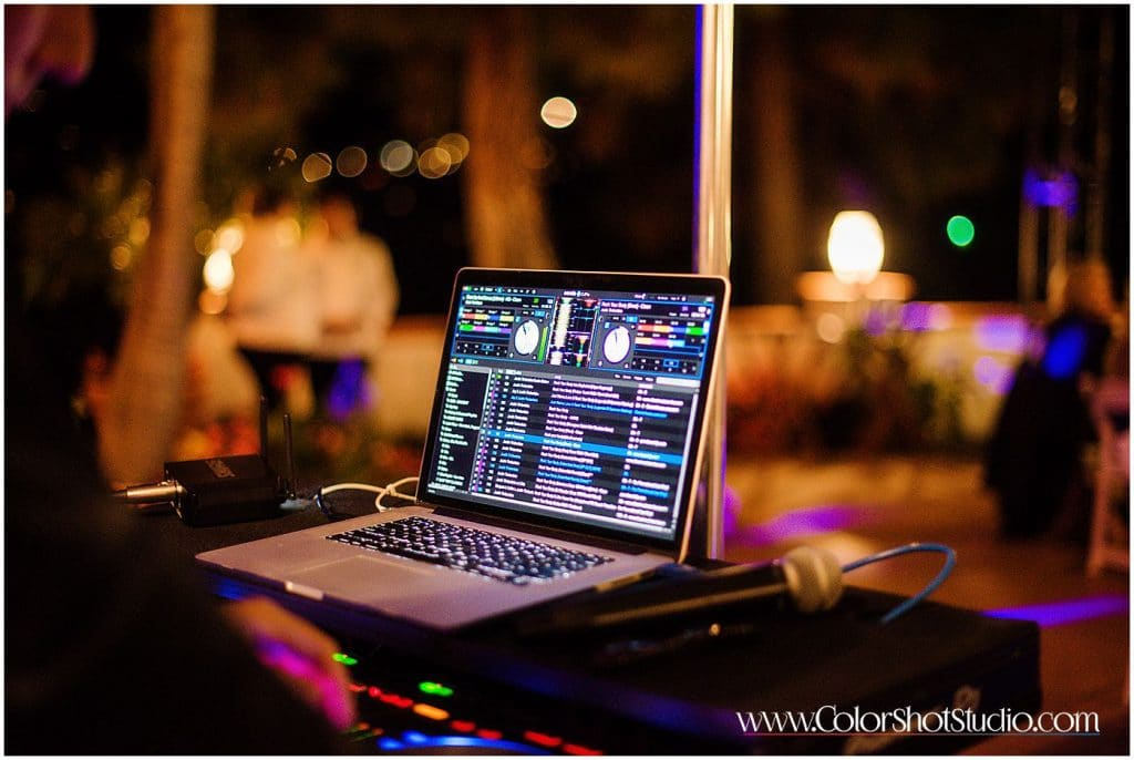DJ playlist on the monitor Omni la costa resort wedding photography by color shot studio