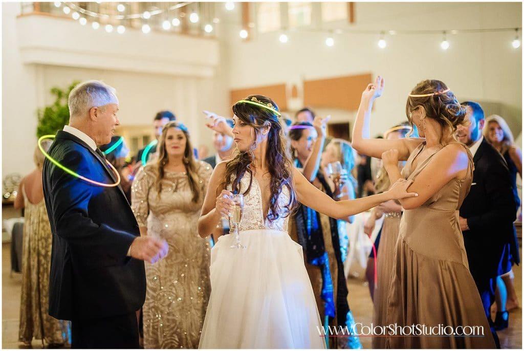 Bride dancing during the reception Omni la costa resort wedding photography by color shot studio