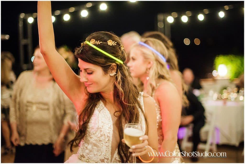 Bride enjoying her drinks Omni la costa resort wedding photography by color shot studio