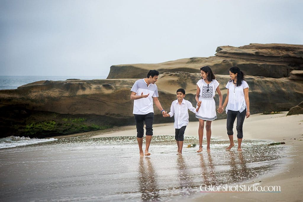 Family of four at windnsea beach