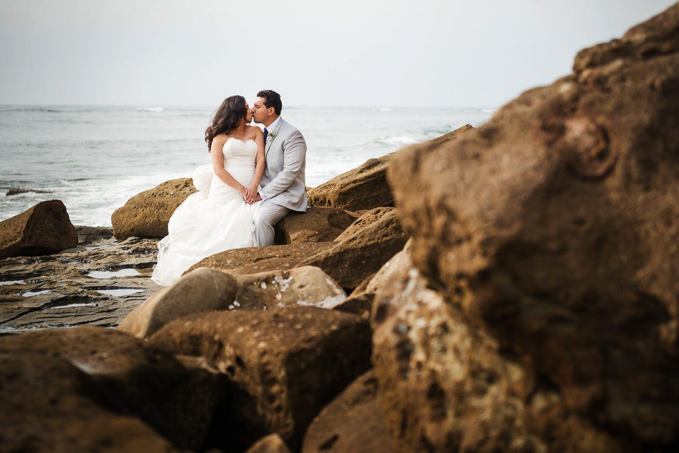 Sunset Cliffs Portrait Session: Candid photo of Bride&Groom